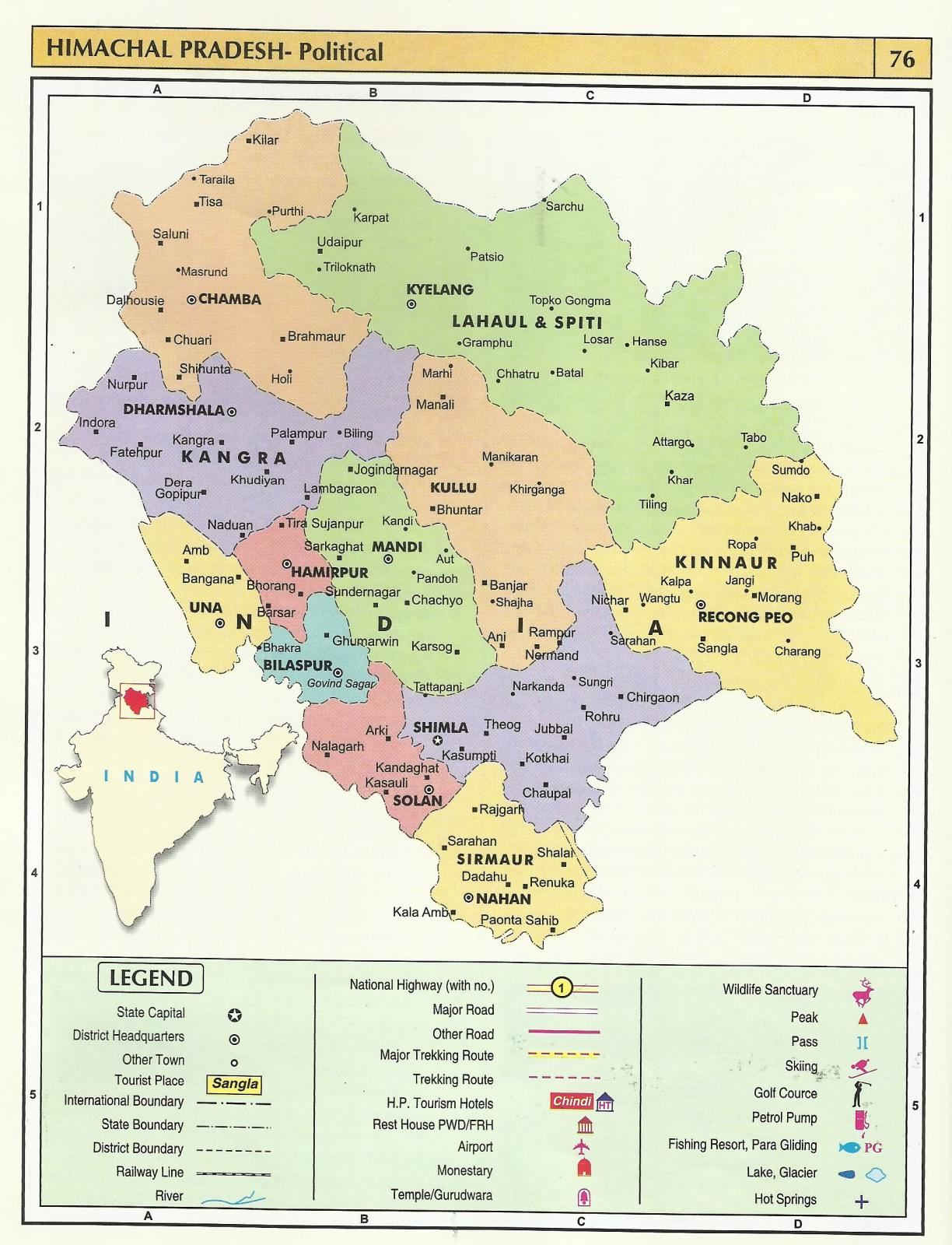 detailed himachal pradesh political map Himachal Pradesh Tourist Maps Himachal Pradesh Travel Guide detailed himachal pradesh political map