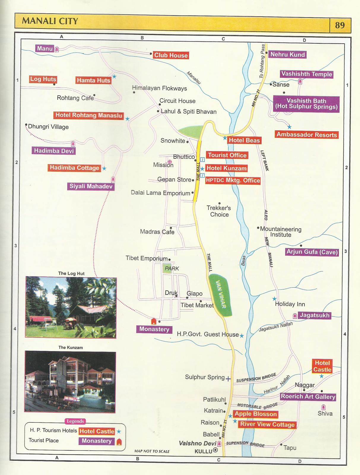 tourist map manali city – himachal pradesh travel guide - tourist map manali city