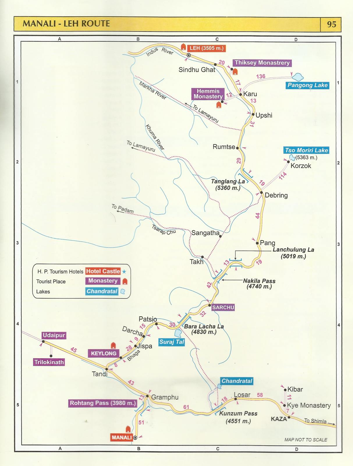 tourist map manali leh route – himachal pradesh travel guide - tourist map manali leh route