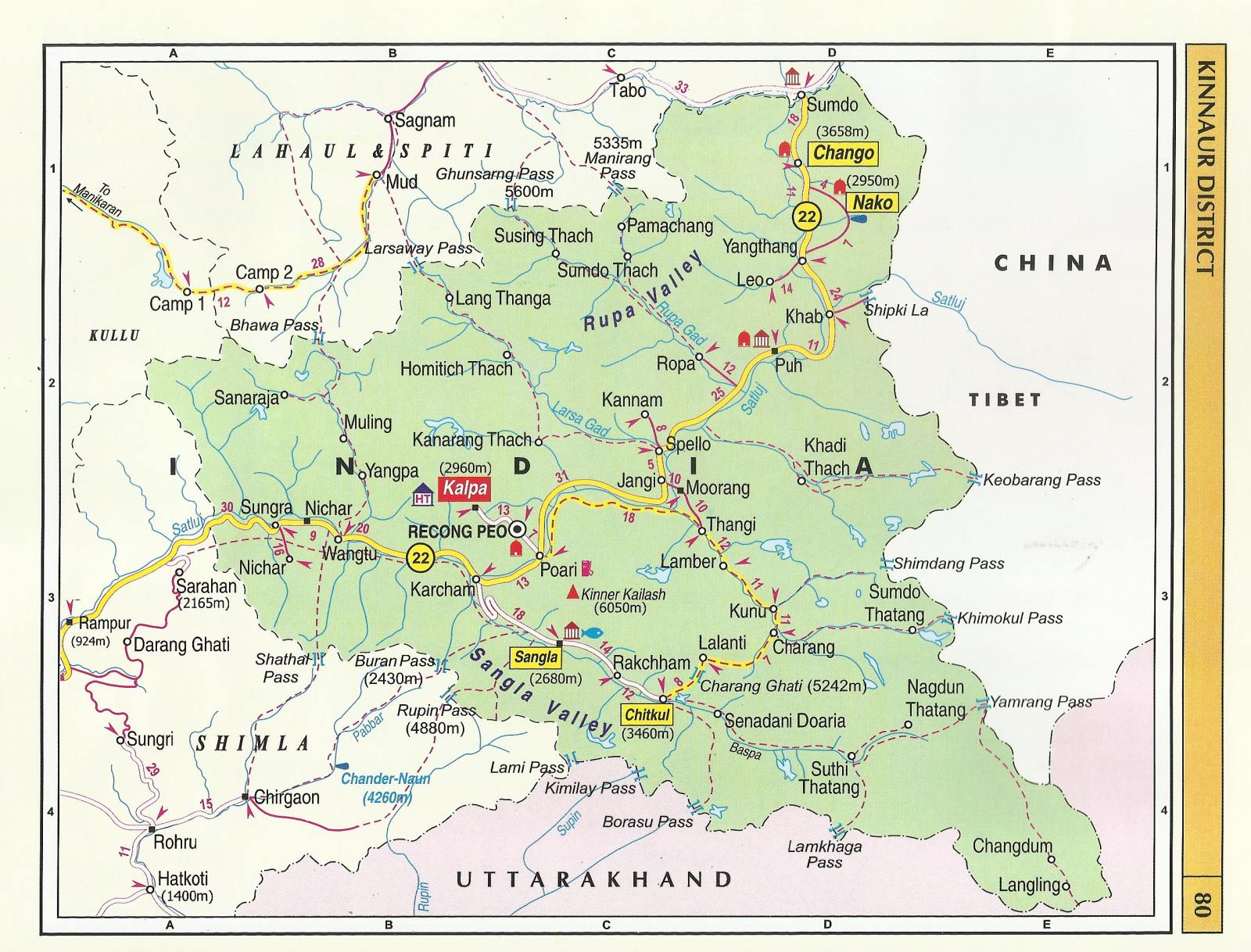 Road Map Of Himachal Pradesh Himachal Pradesh Tourist Maps   Himachal Pradesh Travel Guide
